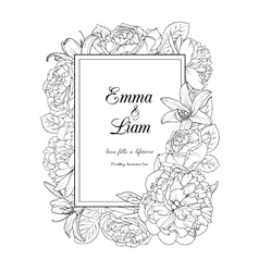Floral frame design wedding invitation card vector