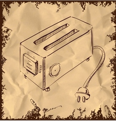 Retro old school toaster on vintage background vector