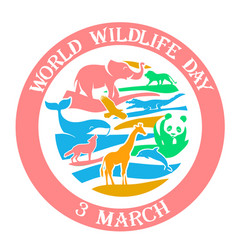 greeting card wildlife day 3 march vector image