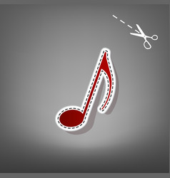 music note sign  red icon with for vector image
