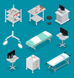 Surgery icons set isometric view vector