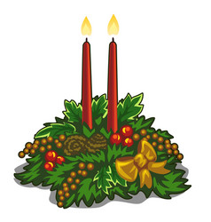 christmas burning red candles decorated with holly vector image