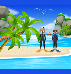 Two divers at the seaside vector