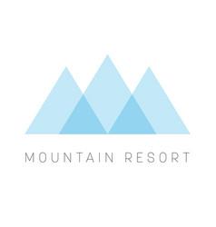 Mountain resort logo template blue triangle shape vector
