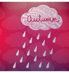 Autumn background with a cloud and rain vector