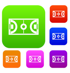 Futsal or indoor soccer field set collection vector