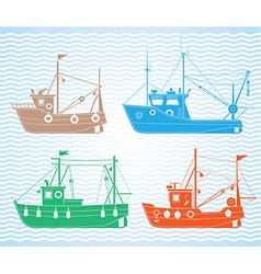 Fishing boats vector