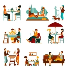 Eating people icons set vector