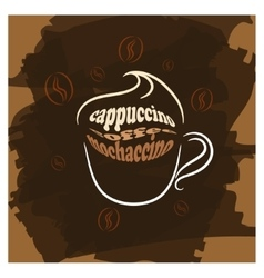 Cappuccino cup brown poster print vector