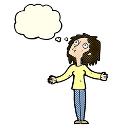 Cartoon curious woman looking upwards with thought vector