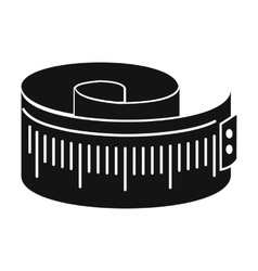 Measuring tape black simple icon vector
