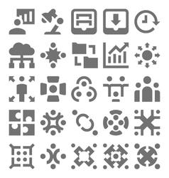 Teamwork organization icons 4 vector