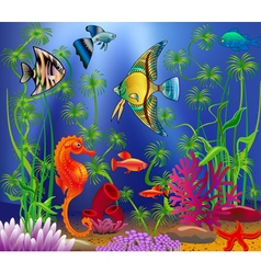 Underwater landscape with various water plants and vector