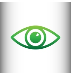 Eye sign green gradient icon vector