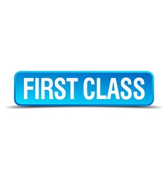 first class blue 3d realistic square isolated vector image