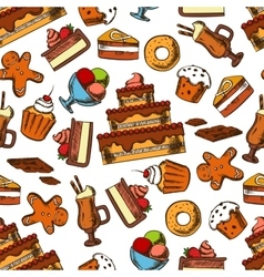 Chocolate desserts and pastries seamless pattern vector