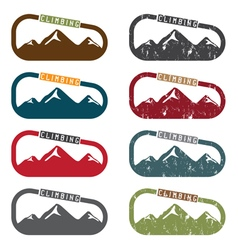 Climbing set with mountains and carabiner vector