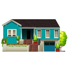 A blue house vector