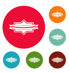 badge ribbon icons circle set vector image