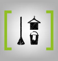 Broom bucket and hanger sign black vector