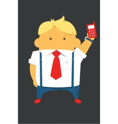 Businessman with a phone hardworking and busy vector image vector image
