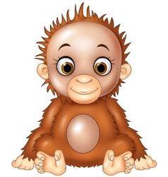 Cartoon funny baby orangutan isolated vector image