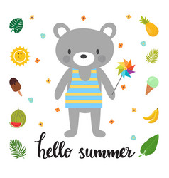 cute bear with windmill hello summer funny vector image vector image