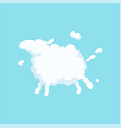cute cartoon sheep in form of white fluffy cloud vector image vector image