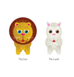 Cute lion and lamb vector