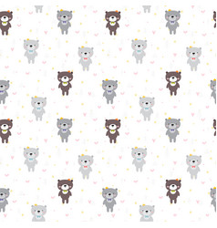 cute seamless pattern with cartoon bear lovely vector image vector image
