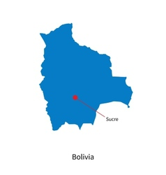 Detailed map of bolivia and capital city sucre vector