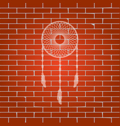 Dream catcher sign whitish icon on brick vector