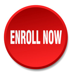 Enroll now red round flat isolated push button vector
