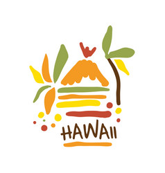 Hawaii tourism logo template hand drawn vector