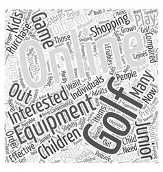 Junior Online Golf Equipment Word Cloud Concept vector image vector image