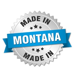 Made in montana silver badge with blue ribbon vector