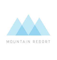mountain resort logo template blue triangle shape vector image
