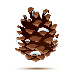 Pine cone with snow cap isolated on white vector