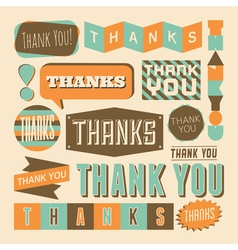retro style thank you design elements collection vector image