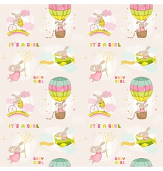 Seamless baby bunny background vector
