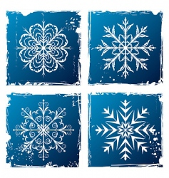 set grunge snowflake vector image vector image
