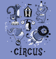 set of circus cartoon animals vector image