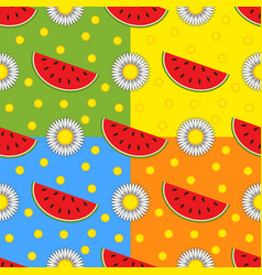 Set of seamless patterns from bright watermelon vector