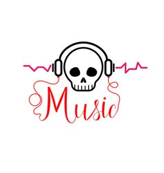 skull with headphones music tshirt vector image