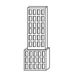 skyscraper building icon monochrome silhouette vector image vector image