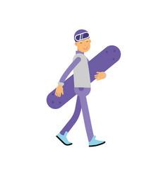 teen boy walking with snowboard boy doing sport vector image