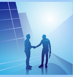 two silhouette businessman hand shake business vector image vector image
