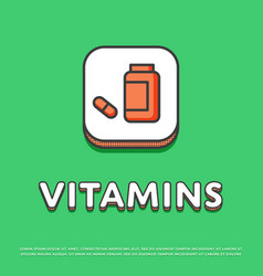 vitamins colour icon in line design vector image