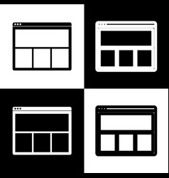 Web window sign black and white icons and vector