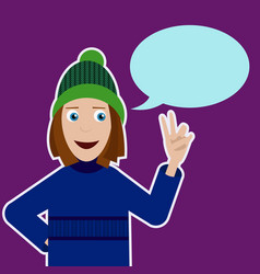 with smiling girl in sweater hat and vector image vector image